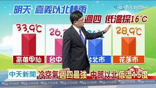 20200421中天新聞 【氣象】華南雲帶+東北季風 週三起天氣濕涼
