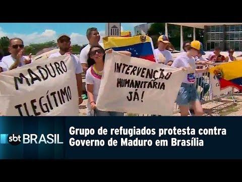 Grupo de refugiados protesta contra Governo de Maduro em Brasília | SBT Brasil (23/02/19)