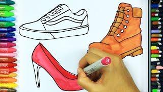 Come disegnare e colorare scarpe 👟 | Colori | Disegno | Colorare | Come colorare per bambini