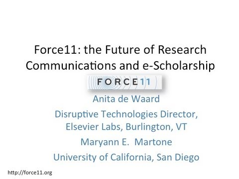 CNI: Force11: The Future of Research Communications and E-Scholarship