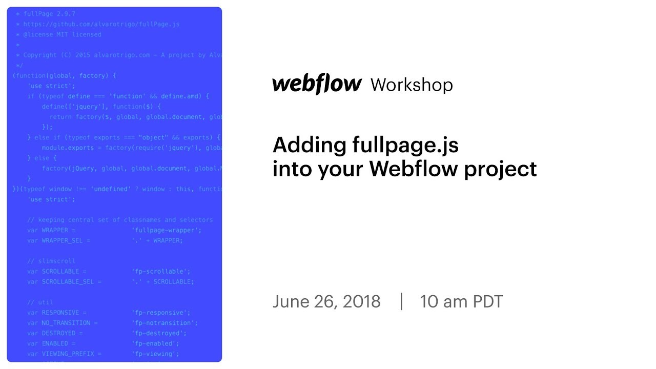 Adding fullpage js into your Webflow project - YouTube