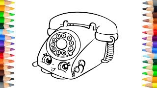 Rotary Telephone Shopkins - Coloring Pages for Kids