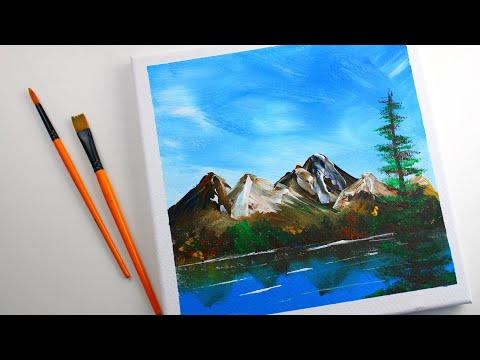 Your own professional looking acrylic canvas painting with easy techniques | mountains painting