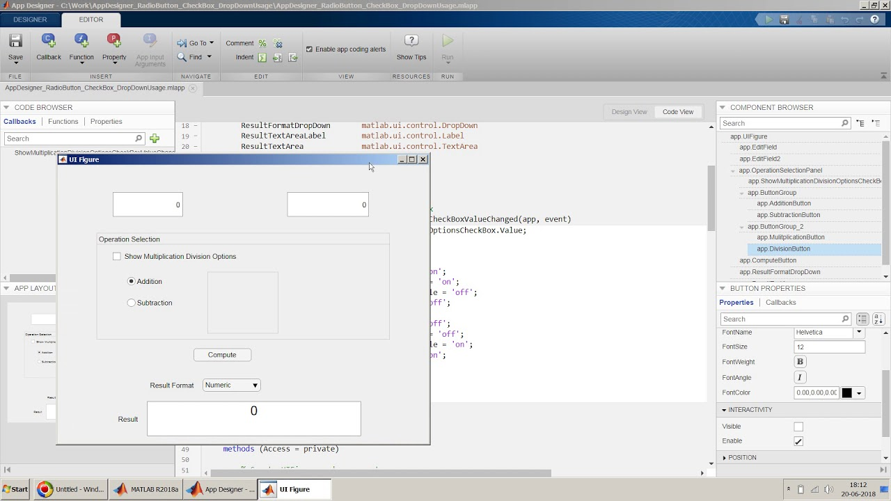 How to design Radio button, check boxes and drop down menu in MATLAB App  Designer?
