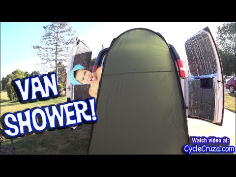 how-to-shower-from-van-|-portable-shower---water-pump---hot-water-heater-|-bug-out-van-build