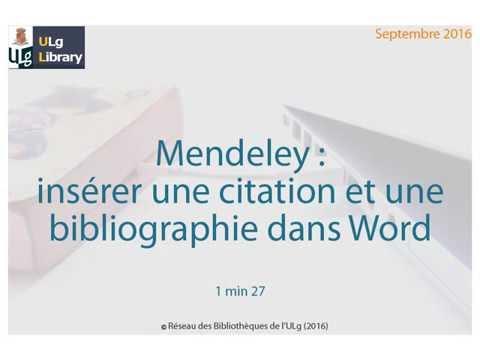 Mendeley Inserer Une Citation Et Une Bibliographie Dans Word