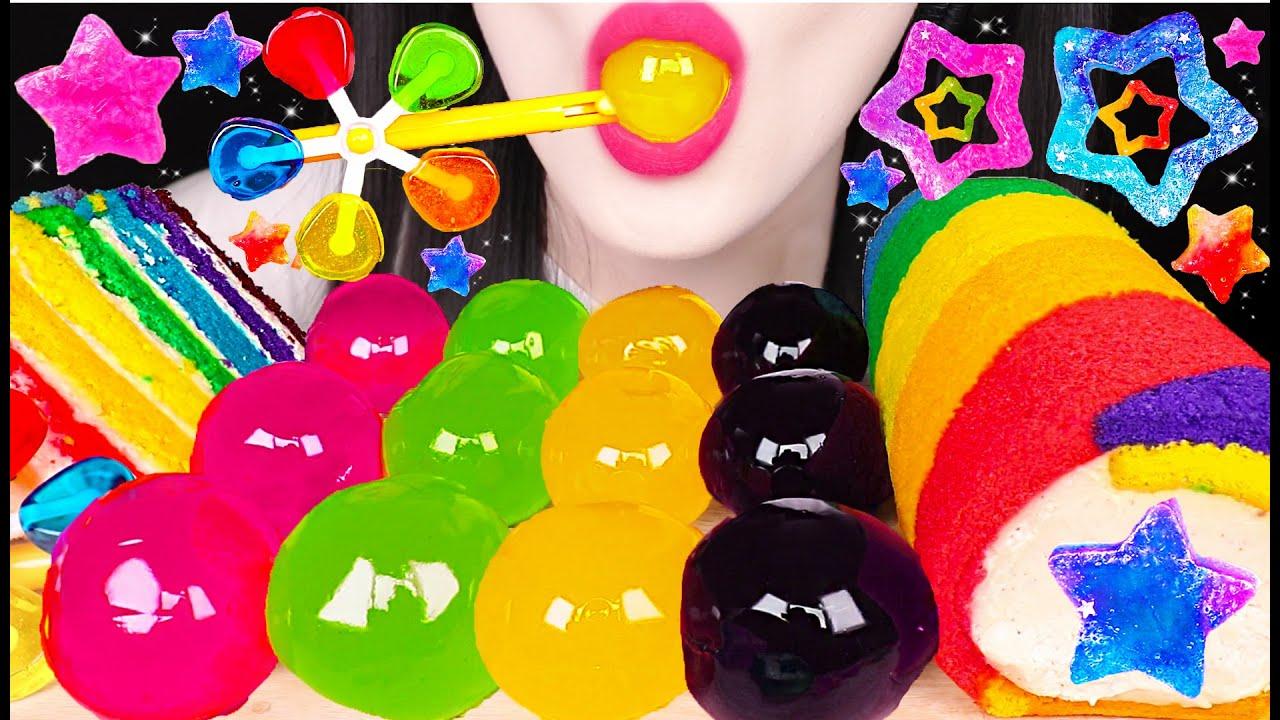 ASMR RAINBOW STAR KOHAKUTO, VANE POP, JELLO BALLS, RAINBOW CAKE 무지개 스타 코하쿠토, 바람개비 팝 먹방 EATING SOUNDS