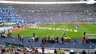 Pokalfinale Berlin 2011: MSV Choreo und Einmarsch der Mannschaften