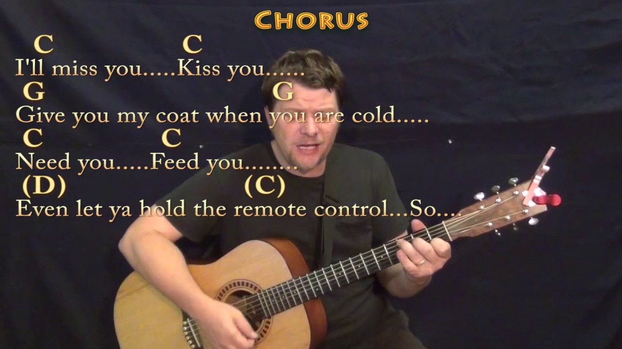 Grow Old With You Adam Sandler Strum Guitar Cover Lesson In G With