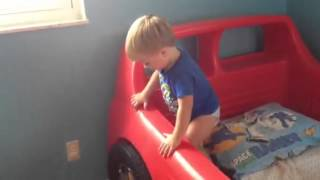 Zachary Gets A New Race Car Bed!