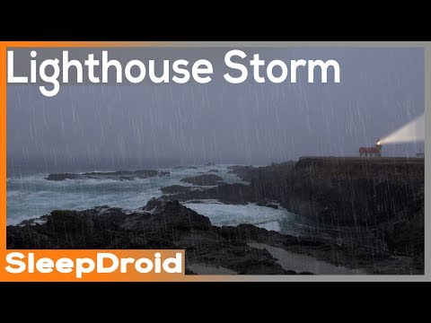 ►Rain: 10 hours of Lighthouse Cliff Seaside Storm Sounds for Sleeping. Ocean Wave Sea Storm (Lluvia)