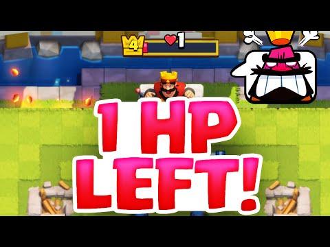 Clash Royale CRAZY Endings - ONE Hitpoint Left!!