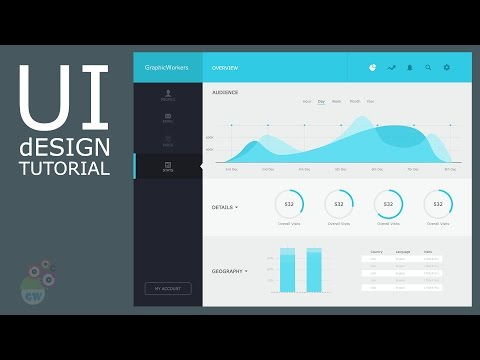 Photoshop UI design tutorial | Analytics Dashboard Design