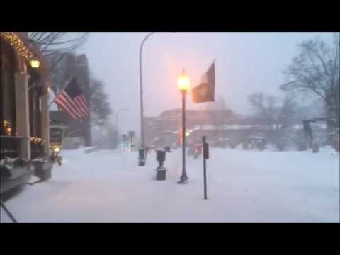 Snowboarding on the street in Saratoga Springs