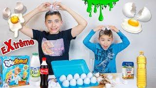 CHALLENGE TÊTE D'OEUF EXTRÊME ! - Douche de Coca-Cola, Farine, Lait, Slime ...