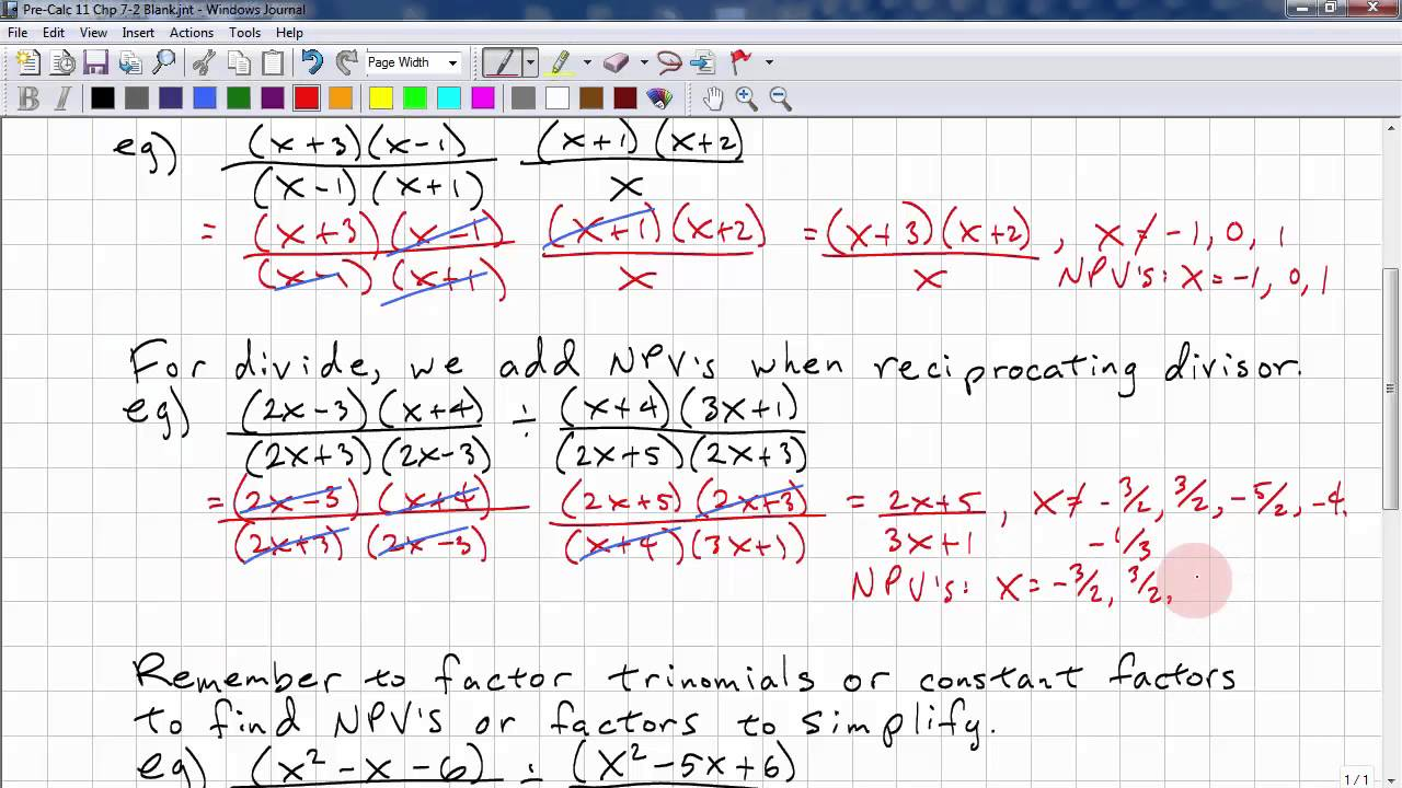 PreCalculus 11 Chp 7 2 - Multiplying and Dividing Rational Expressions