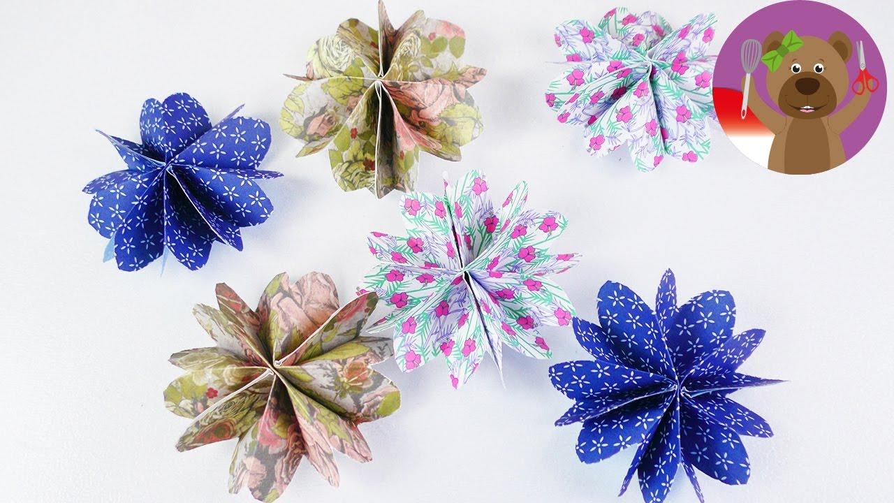 Pembuatan Dekorasi Kamar Tidur Hiasan Bunga Kertas Bentuk Bunga Origami Bunga Diy Youtube