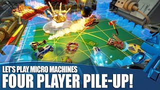 Let's Play Micro Machines World Series - Four Player Pile-Up!