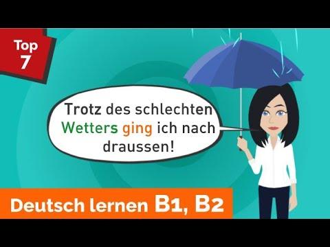 Deutsch lernen B1, B2 / Genitiv / obwohl - trotz - trotzdem / Präpositionen / Adjektivdeklination