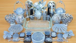 Download SILVER SLIME Mixing makeup and glitter into Clear Slime Satisfying Slime Videos Mp3 and Videos