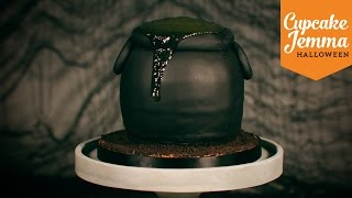 How to make a Slime-Filled Bubbling Cauldron Cake for Halloween  Cupcake Jemma