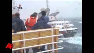 Limping Ship Hits High Waves