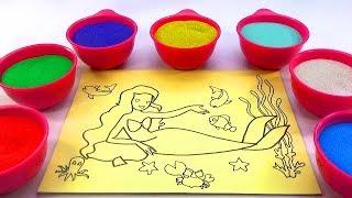 XÚC XẮC XÚC XẺ!Nhạc Thiếu Nhi!Đồ chơi trẻ em TÔ MÀU TRANH CÁT HÌNH NÀNG TIÊN CÁ Color Sand Paint