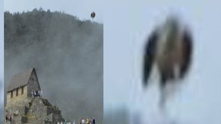 """PERU """"MAN BIRD"""" UFO ACTIVATES VOLCANIC EXPLOSION!!? CRAZY FOOTAGE! CA. Mile WIDE Flying Saucer!"""