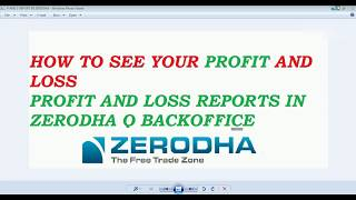 How To See Your Profit and Loss in Zerodha