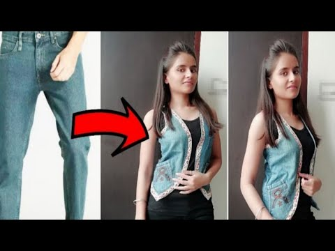 DIY: Convert/ Reuse/Recycle Old Jeans into Girl's Jacket/Reuse Old Jeans into Jacket/Denim reuse