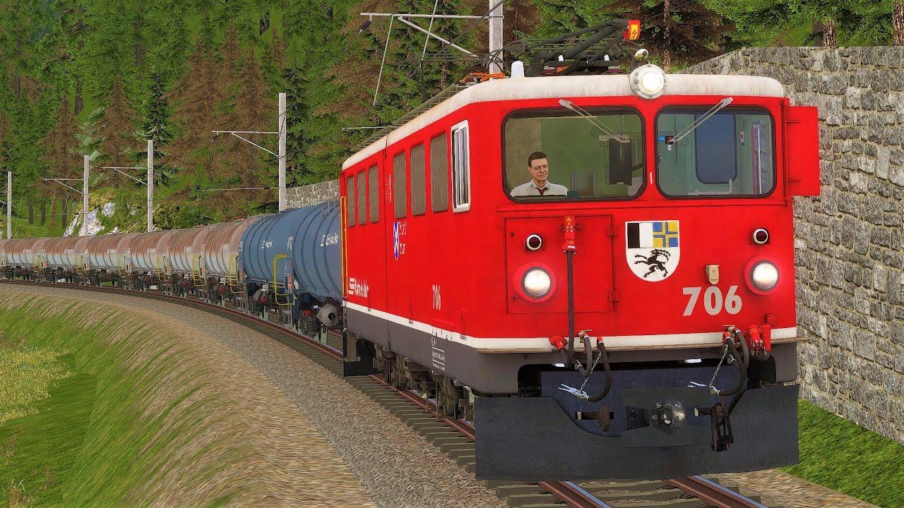 TRAIN SIMULATOR 2020   Engadinerbahn: Bever – Scuol-Tarasp   Rhätische Bahn Ge 6/6 II - RhB Güterzug