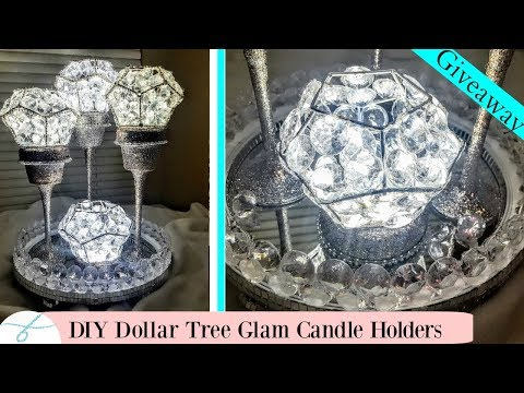 DIY 3pc set Glam Candle Holders Centerpiece - DIY Dollar Tree | GIVEAWAY CLOSED