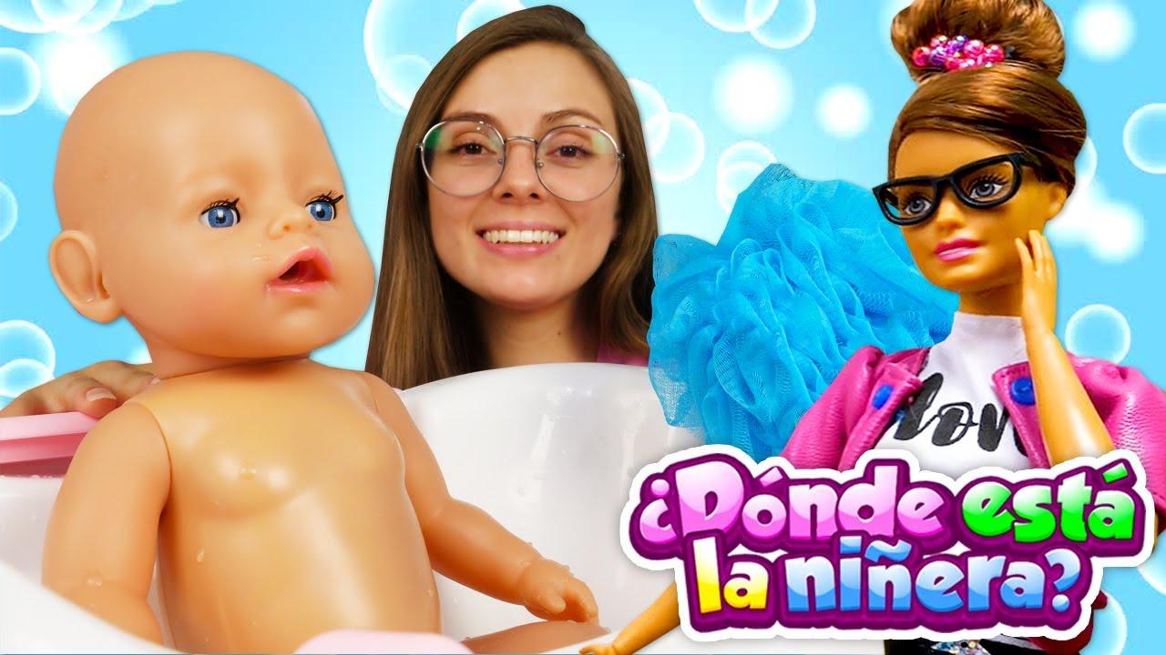 ¡Es hora de bañarse! ¿Dónde está la niñera Barbie? Vídeos de juguetes para niñas.