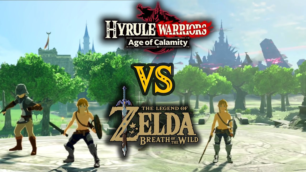 Synced Comparison Age Of Calamity Vs Breath Of The Wild In Zelda Hyrule Warriors Youtube