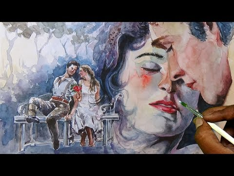 Watercolor painting Valentine's Day Boy & Girl | Portrait painting Boy & Girl watercolorsTutofial