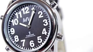 Produktvideo zu Sprechende Funk-Armbanduhr Damen & Herren Lederarmband Black Stile
