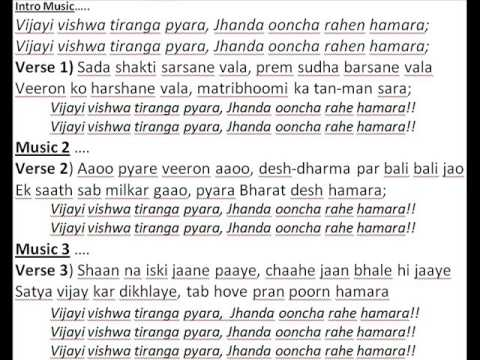 Vijayee Vishwa Tiranga Karaoke Lyrics Youtube