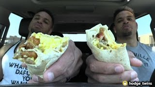 Eating Taco Bell Breakfast Burritos @hodgetwins
