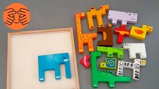 Animal Puzzles for kids with elephant duck bear hippo