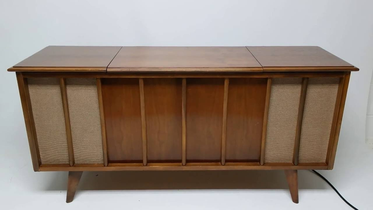 Mid Century Modern Stereo Console Cabinet Record Player - Bluetooth - Am/Fm  - YouTube