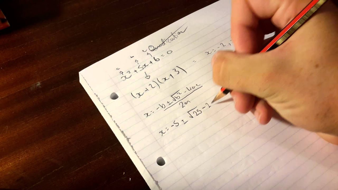 X^2+5x+6=0 Quadratic Equation And Factorise
