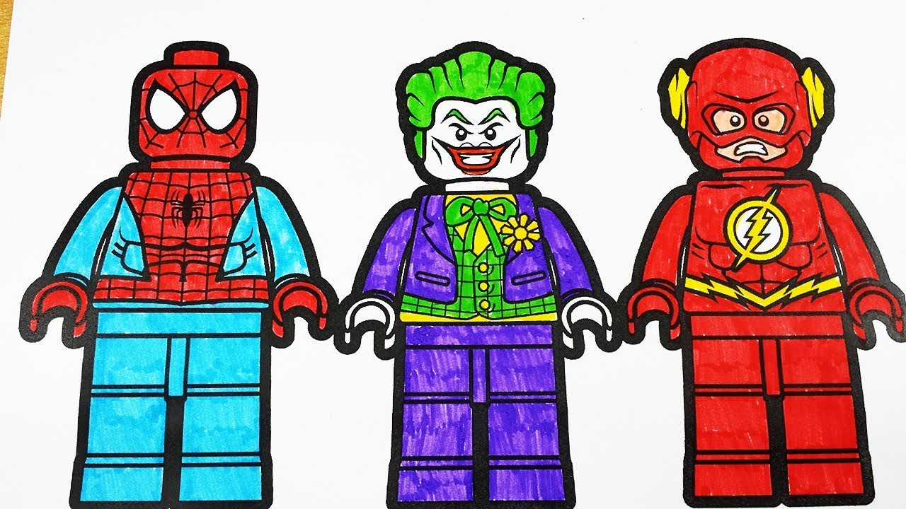 Coloring Pages LEGO Spiderman Joker Flash