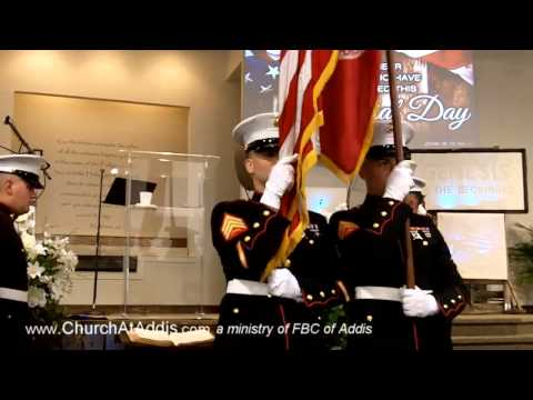 Church At Addis- Memorial Day Remembrance- Marine Color Guard