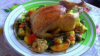 Курица запеченная в духовке с картошкой и овощами delicious chicken in the oven