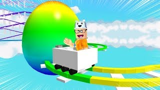 ROBLOX: I WENT ON THE ROLLERCOASTER OF THE GIANT COLORED EGG! -Play Old man