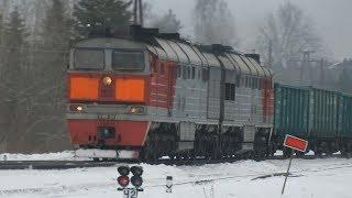 Раскачка тепловоза. Движение на станции Торошино: ДМ62-1746, 2ТЭ116-507, ЧМЭ3Т-6330
