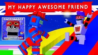 My Happy Awesome Friend - Sunshine Blue Sky Robots and Dolphins