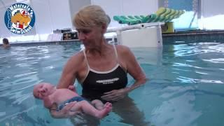 Zane, 4 week old swim baby's first lesson at Watersafe Swim School
