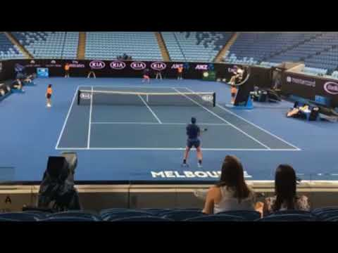 Rafael Nadal and Dominic Thiem played a practice match on MCA ahead of AO 2018