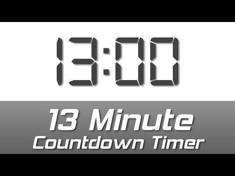 13 min simple white digital clock countdown timer with